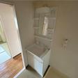 ワイドな洗面台は2018年に交換しました。室内洗濯機置き場もあります